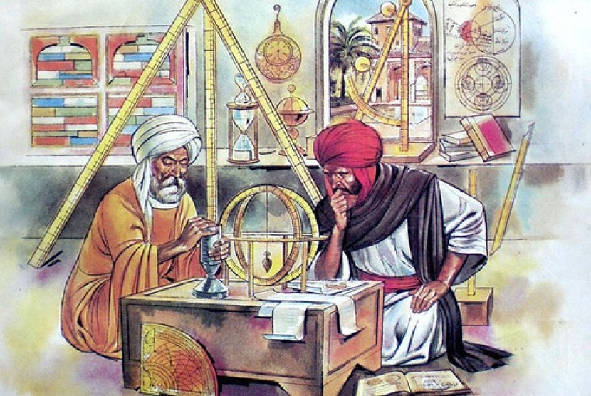Ilustrasi ilmuwan Muslim saat mengembangkan sains dan teknologi pada era Dinasti Abbasiyah di Baghdad.