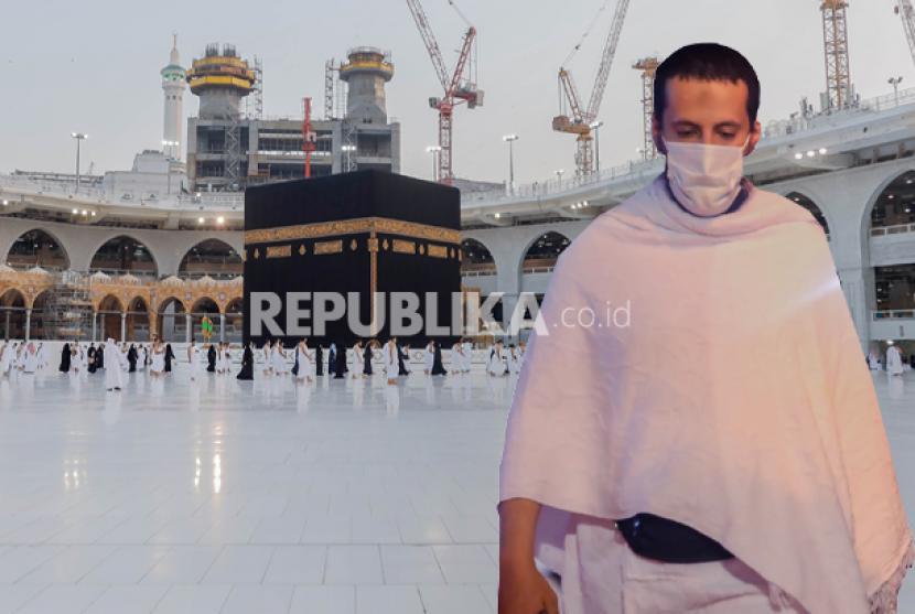 Kondisi Prihatin Biro Perjalanan Haji Umroh di Masa Pandemi. Foto: Ilustrasi Jamaah haji dan umroh pakai masker di masa pandemi covid-19
