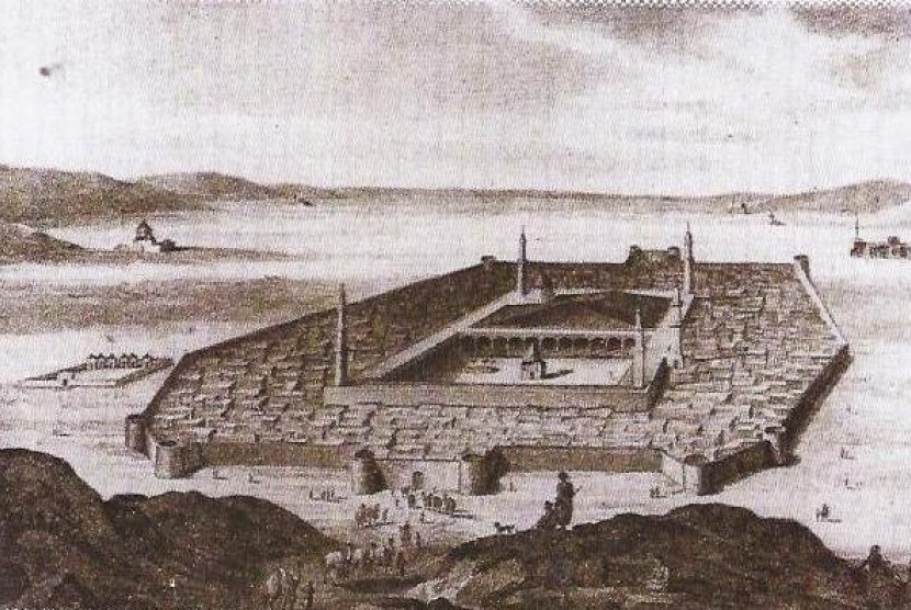 Sekutu Yahudi tak mampu menyerang Kota Madinah yang dilindungi. Ilustrasi Kota Madinah