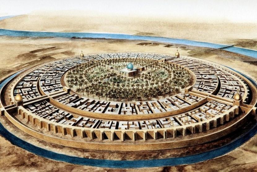 Ilustrasi kota melingkar Baghdad di abad ke-10.