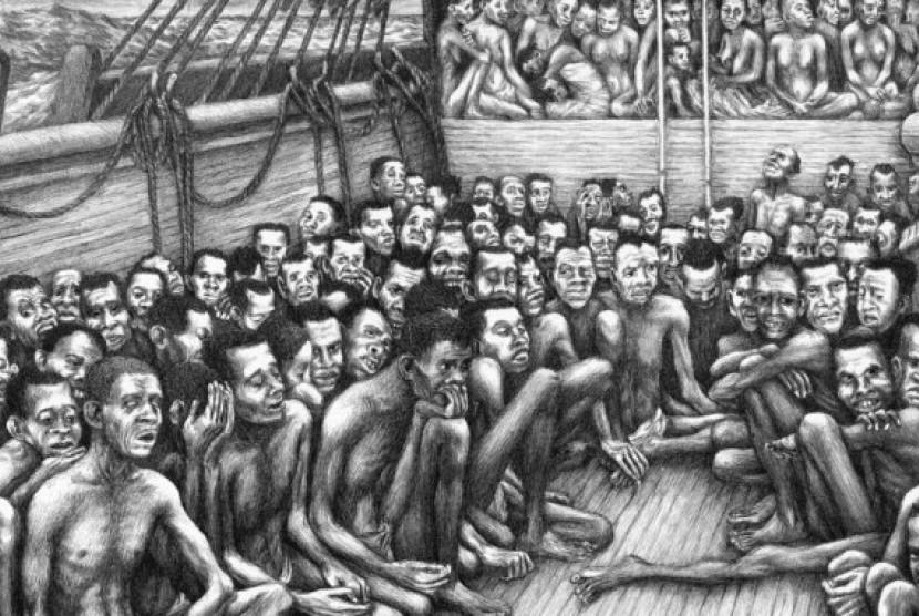 Ilustrasi pembebasan budak Afrika dari Amerika Serikat menuju Sierra Leone pada 1820.