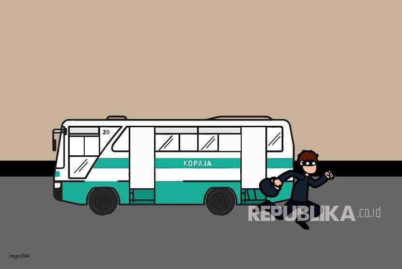 Ilustrasi Penjambretan di Angkutan Umum
