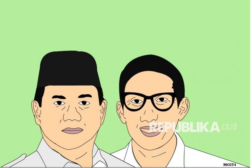 Ilustrasi Prabowo Subianto dan Sandiaga Uno