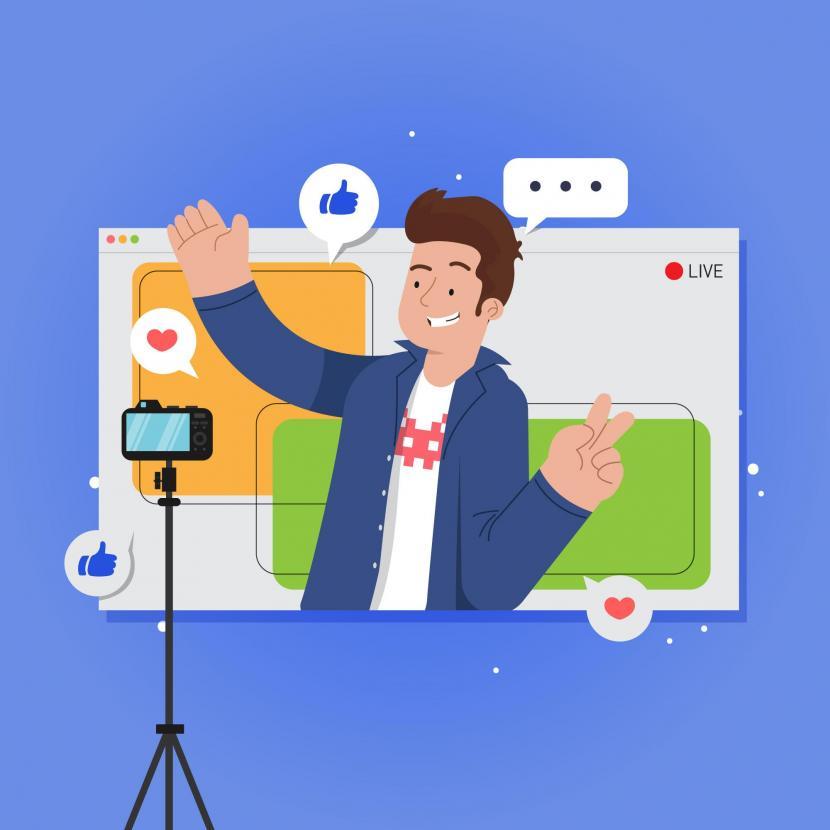 Youtuber adalah profesi yang menghasilkan penghasilan rutin. Ilustrasi youtuber.