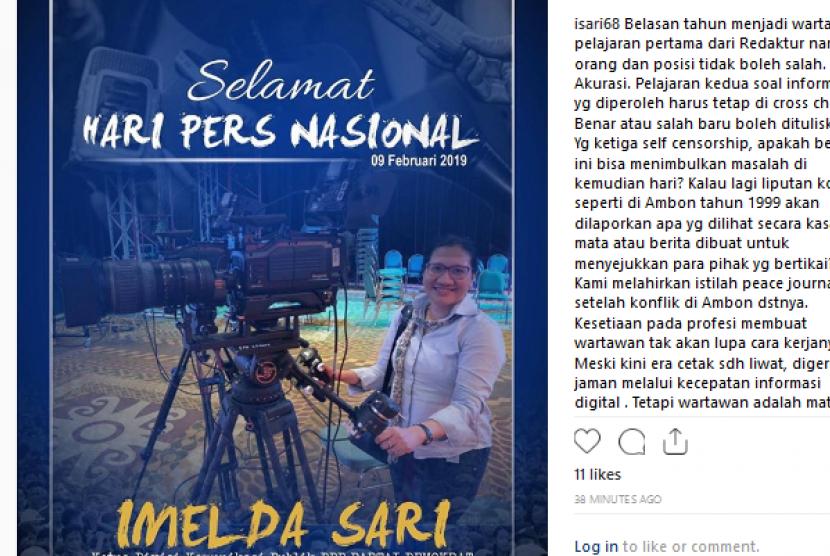 Imelda Sari mengucapkan selamat hari pers nasional