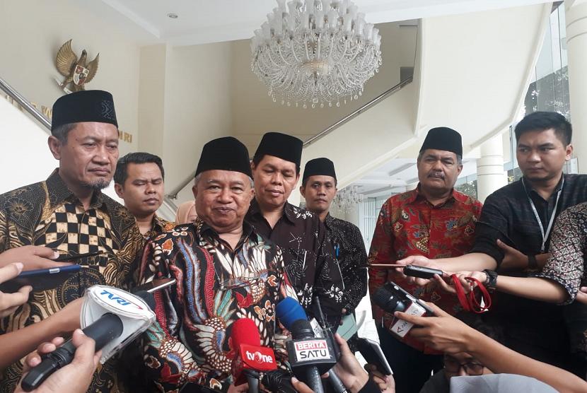 Jajaran Pengurus Majelis Ulama Indonesia (MUI) menemui Wakil Presiden Jusuf Kalla di Kantor Wakil Presiden, Jakarta, Senin (25/3).