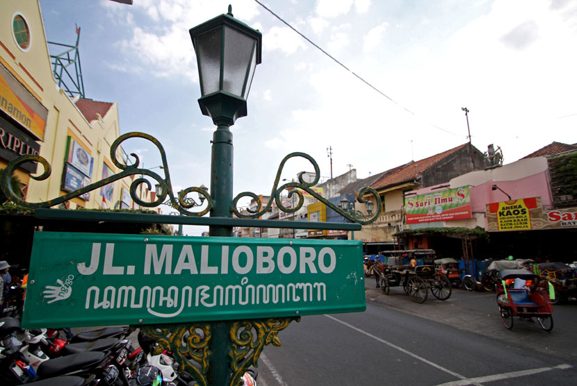 Jalan Malioboro di Yogyakarta.
