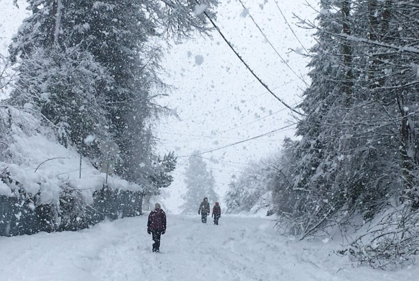 Bergerak Di Dalam Salju Yang Tebal