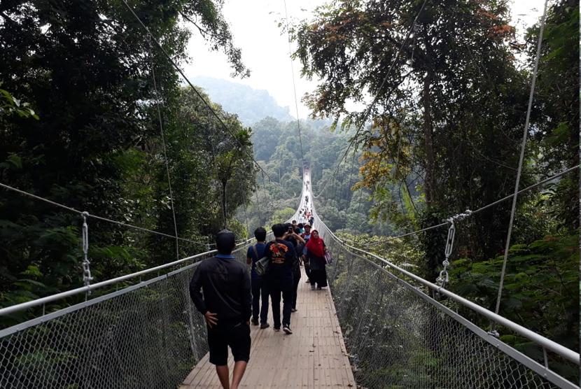 Jembatan Situgunung (Suspension Bridge) di Taman Nasional Gunung Gede Pangrango.