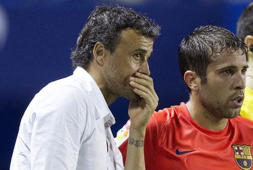 Jordi Alba (kanan) dan Luis Enrique.