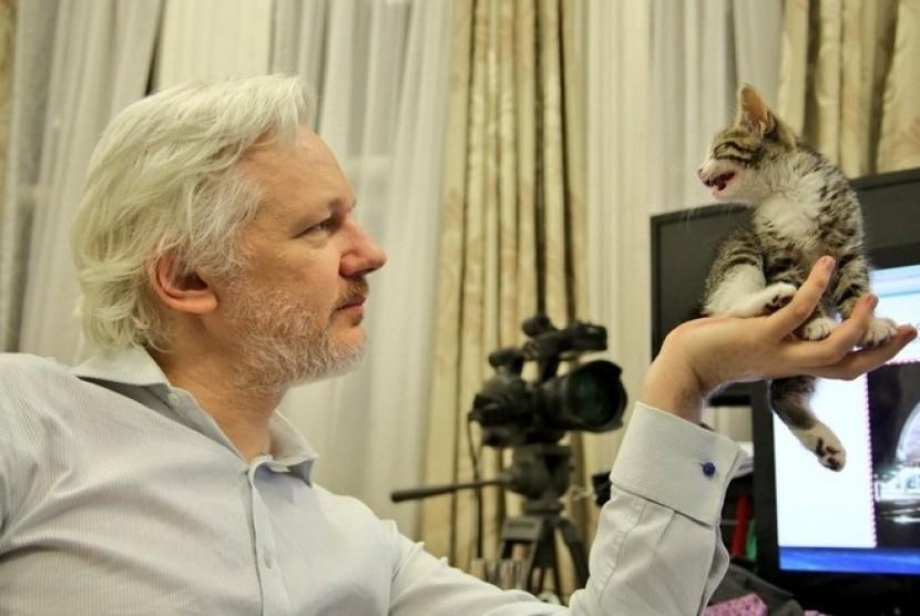 Julian Assange bersama kucingnya.