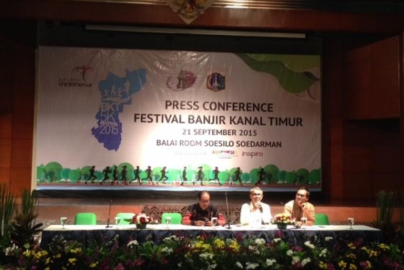 Jumpa Pers Festival Banjir Kanal Timur di Gedung Sapta Pesona, Senin (21/9)