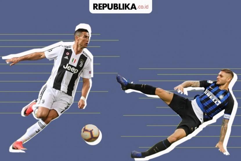 Juventus vs Inter, Pertarungan dua raksasa Italia.