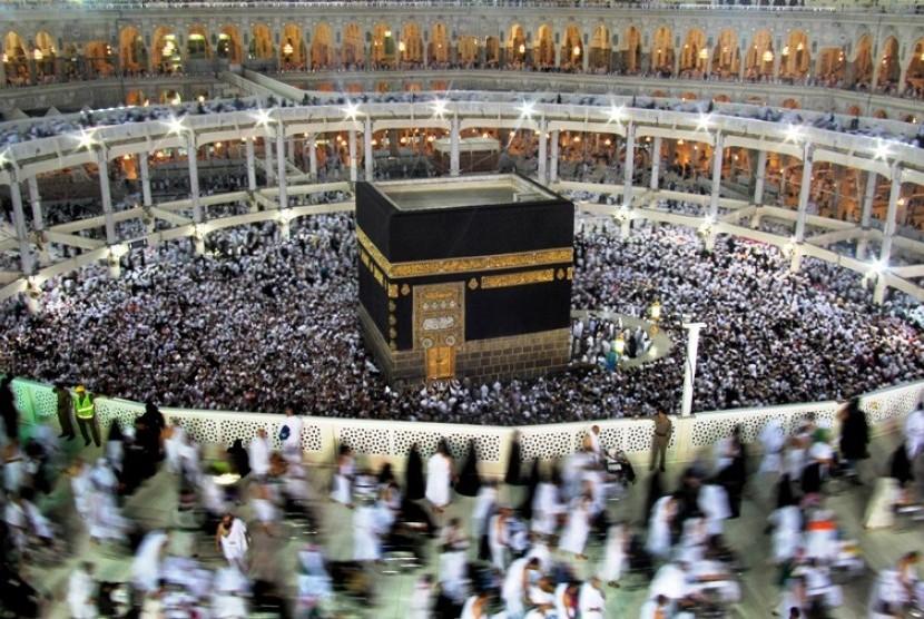 Ka'bah atau Baitullah di Masjidil Haram, Makkah, Arab Saudi.