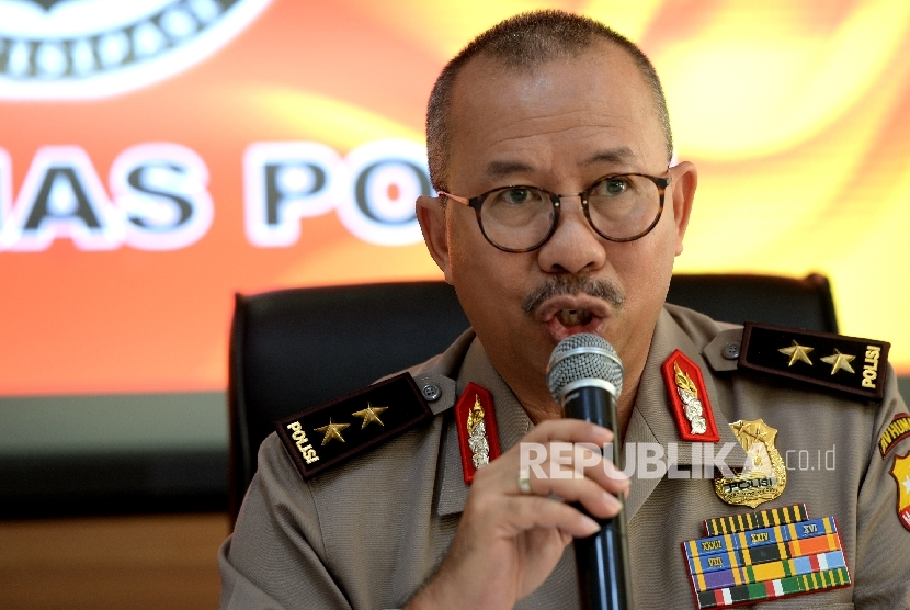 Kadiv Humas Mabes Polri Irjen Pol Setyo Wasisto memberikan keterangan pers di Mabes Polri, Jakarta, Kamis (25/5).