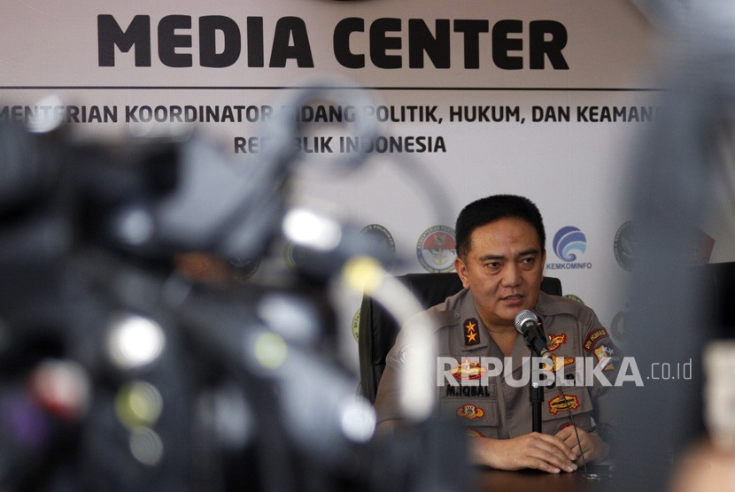 Kadiv Humas Polri Irjen Pol Mohammad Iqbal memberikan keterangan pers terkait aksi demonstrasi 22 Mei di Kemenko Polhukam, Jakarta, Kamis (23/5/2019).
