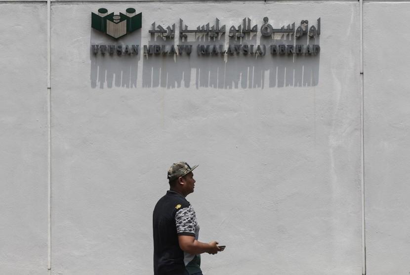 Kantor surat kabar Utusan Malaysia (Utusan Melayu) di Kuala Lumpur, Senin (19/8).