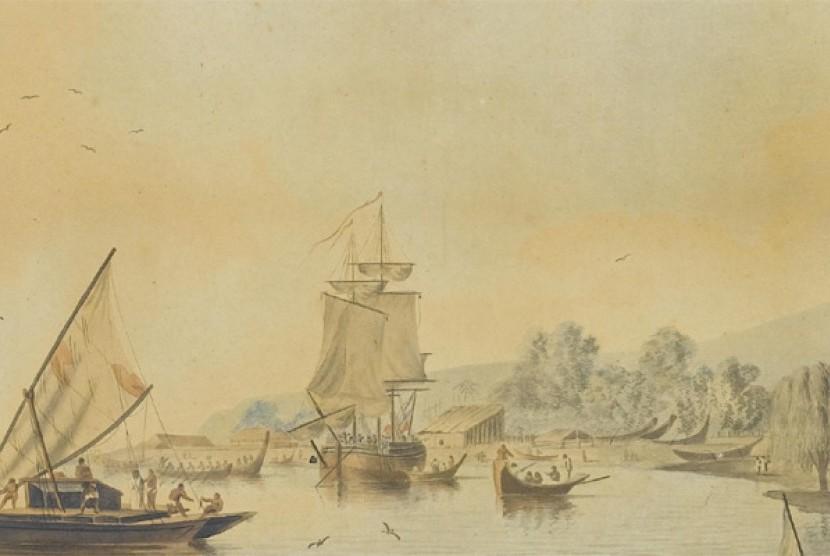 kapal haji di laut tengah.