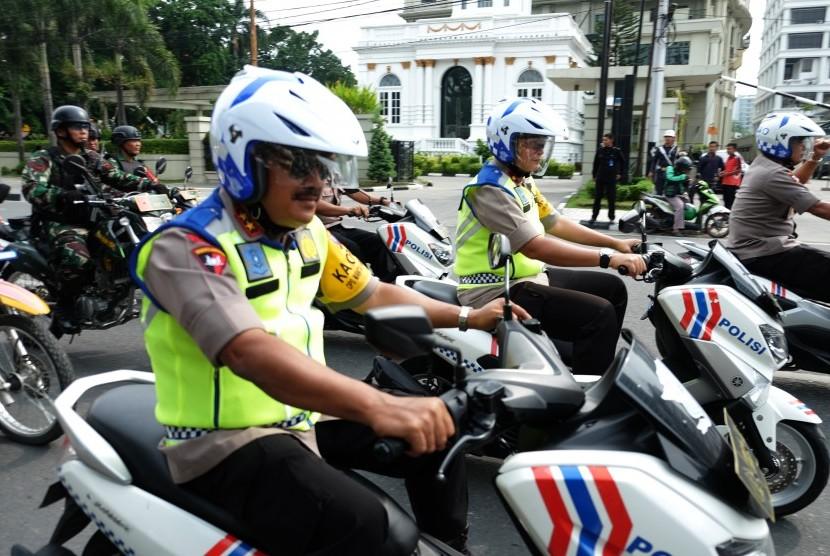 Ilustrasi patroli pengamanan Pemilu 2019 di Sumatra Utara.