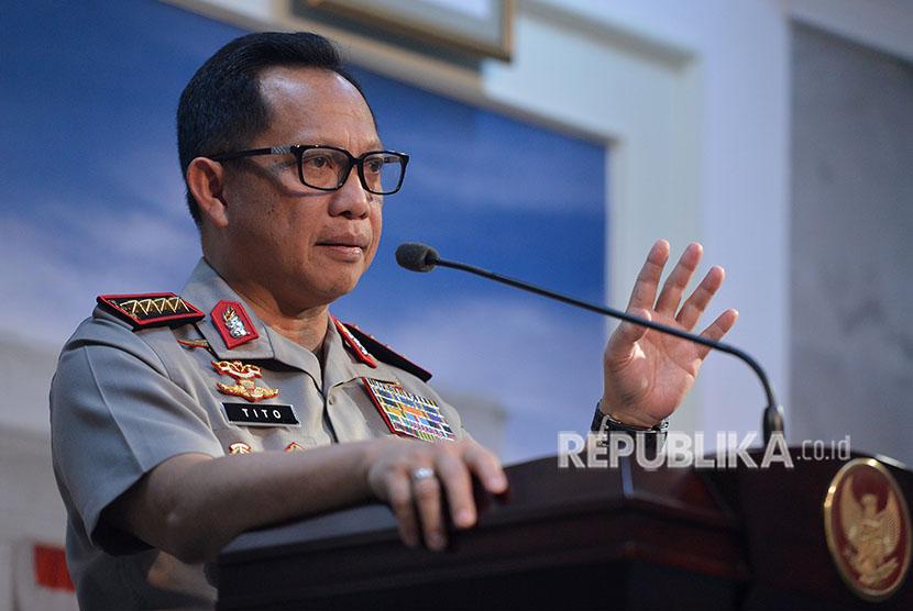 Kapolri Jenderal Pol Tito Karnavian memberikan keterangan mengenai penindakan terduga teroris seusai mengikuti rapat terbatas di Kantor Presiden, Jakarta, Selasa (22/5).