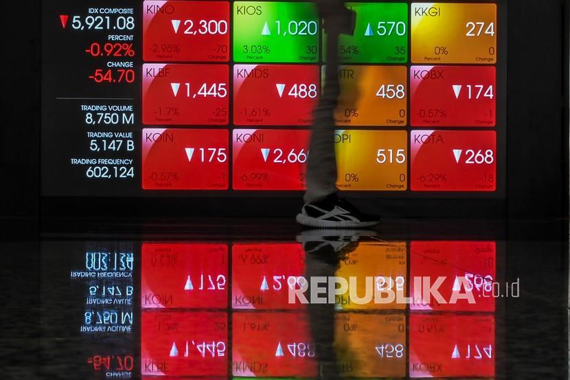 Karyawan melintas di dekat layar monitor pergerakan Indeks Harga Saham Gabungan (IHSG) di Bursa Efek Indonesia, Jakarta. ilustrasi