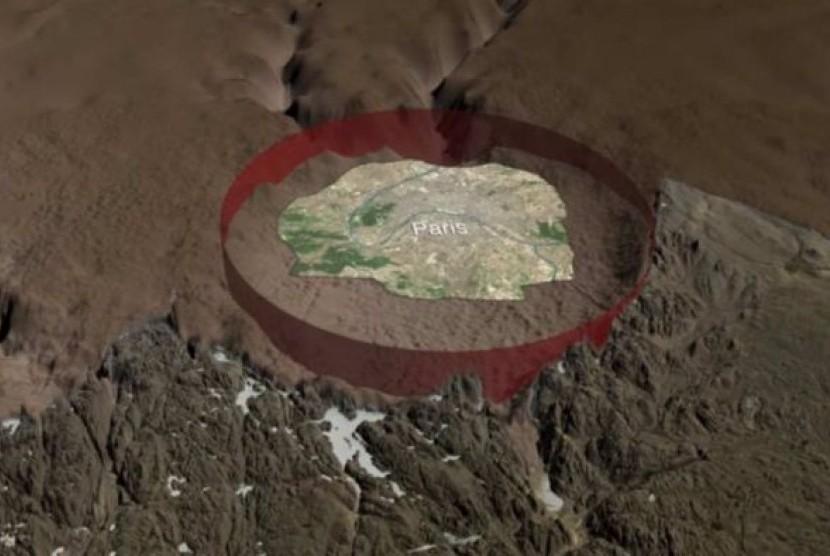 Kawah ini berdiameter 31 km, lebih besar dari Paris.
