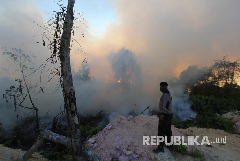 Kebakaran hutan dan lahan akibat musim panas semakin meluas terjadi dan sudah mendekati pemukiman warga di kecamatan Dumai Barat kota Dumai, Dumai, Riau, Selasa (12/2/2019).