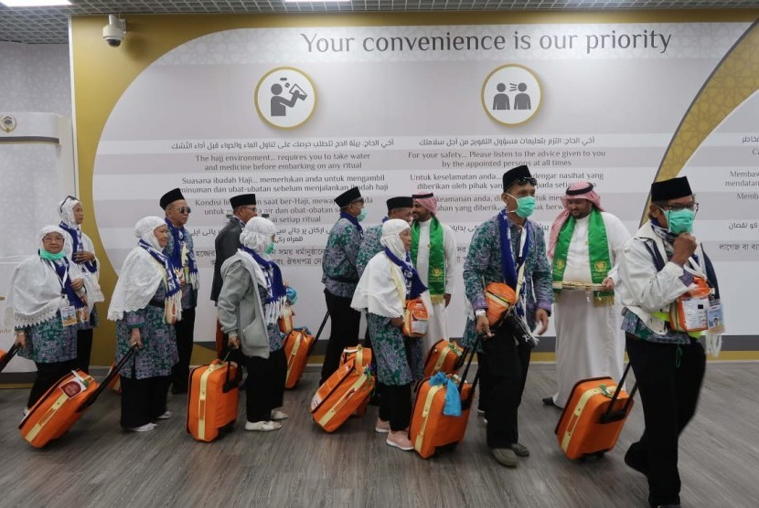 Indonesia hajj pilgrims arrived at Prince Mohammad Abdulaziz International Airport, Medina using the Makkah Route fast track facility.