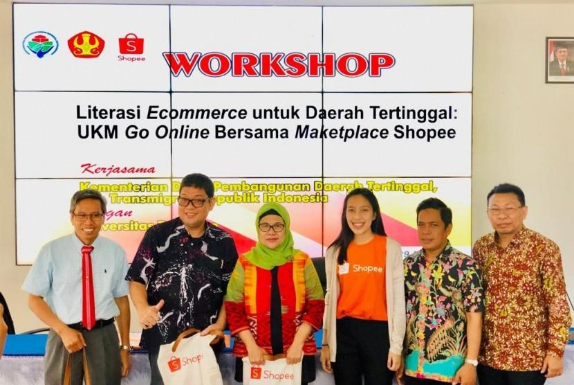Kementerian Desa, Pembangunan Daerah Tertinggal dan Transmigrasi (Kemendes PDTT) bekerja sama dengan marketplace Shopee dan Universitas Tadulako menggelar workshop literasi e-commerce untuk pelaku UMKM di daerah tertinggal pada Rabu (29/5) lalu.