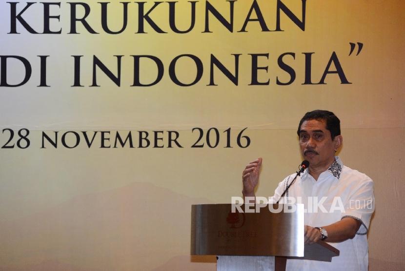 Kepala Badan Nasional Penanggulangan Teroris (BNPT) Suhardi Alius memberikan pemarapan saat menjadi narasumber dalam seminar kerukunan sosial dan agama di Indonesia yang digelar di Jakarta, Senin (28/11).