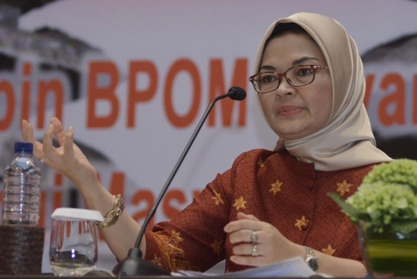 Kepala Badan Pengawas Obat dan Makanan (BPOM) Penny K. Lukito menyampaikan arahan saat kegiatan Rapat Evaluasi Nasional BPOM 2018 di Legian, Badung, Bali, Selasa (27/11/2018).