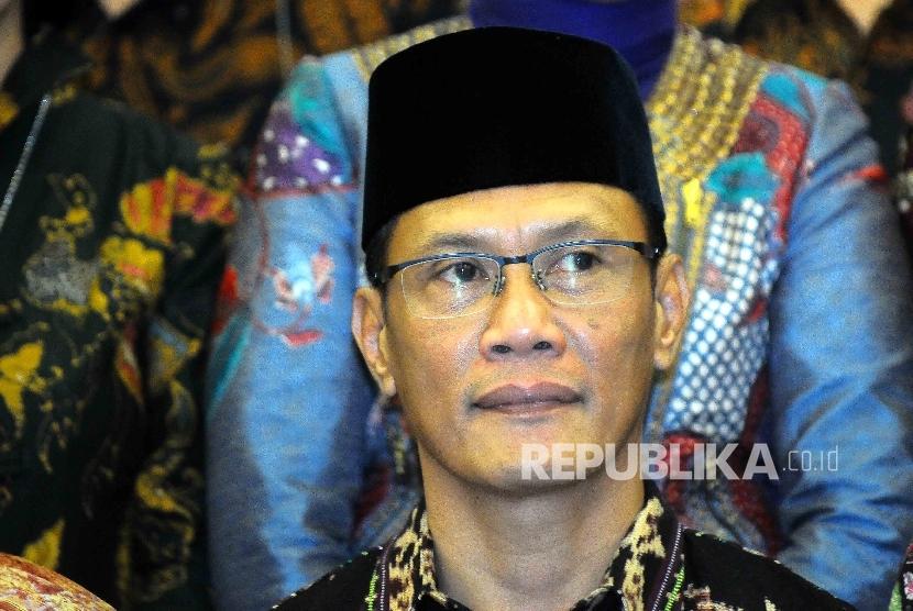 Kepala Badan Pusat Statistik (BPS) Kecuk Suhariyanto seusai pelantikan Kepala BPS yang baru di Gedung Badan Perencanaan dan Pembangunan Nasional (Bappenas), Jakarta, Kamis (15/9).