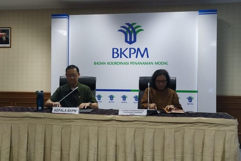 Kepala BKPM Thomas Lembong dalam konferensi pers di Jakarta, Selasa (30/4).