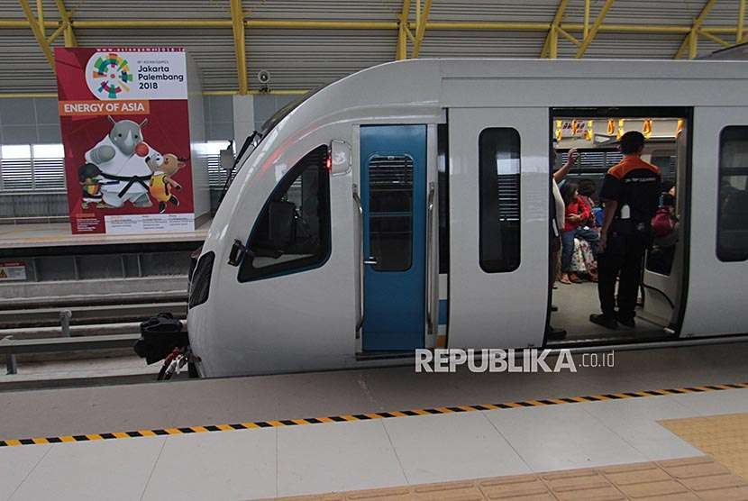 Light Rapid Transit (LRT) at Depo Jakabaring Palembang, South Sumatra.