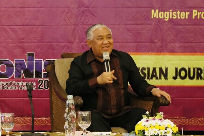 Ketua Dewan Pembina Majelis Ulama Indonesia (MUI) Prof Dr KH Din Syamsudin saat menghadiri Konferensi Internasional tentang Islam dan Masyarakat Muslim (ICONIS) 2018, di Institut Agama Islam Negeri (IAIN) Salatiga, Jawa Tengah, Rabu (1/8).