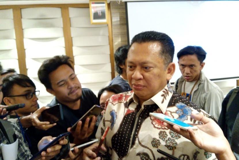 Ketua Dewan Perwakilan Rakyat (DPR) Bambang Soesatyo menjadi pembicara dalam sebuah diskusi di Hotel Ashley, Menteng, Jakarta Pusat, Jumat (9/8).