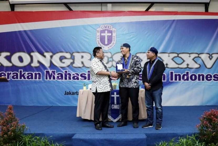 Ketua DPD Oesman Sapta saat Kongres XXXVI GMKI di Bogor, Jawa Barat, Kamis (13/9).
