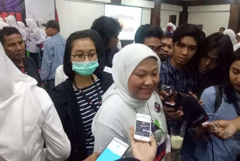 Ketua DPP PKB Ida Fauziah, Koordinator Nasional relawan Suara Perempuan untuk Joko Widodo atau Super Jokowi. Super Jokowi menyasar tiga segmen, emak-emak, mama-mama muda dan perempuan millenial. Kamis (23/8).