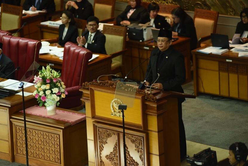 Ketua DPR RI Bambang Soesatyo saat Rapat Paripurna DPR, Jumat (18/5).