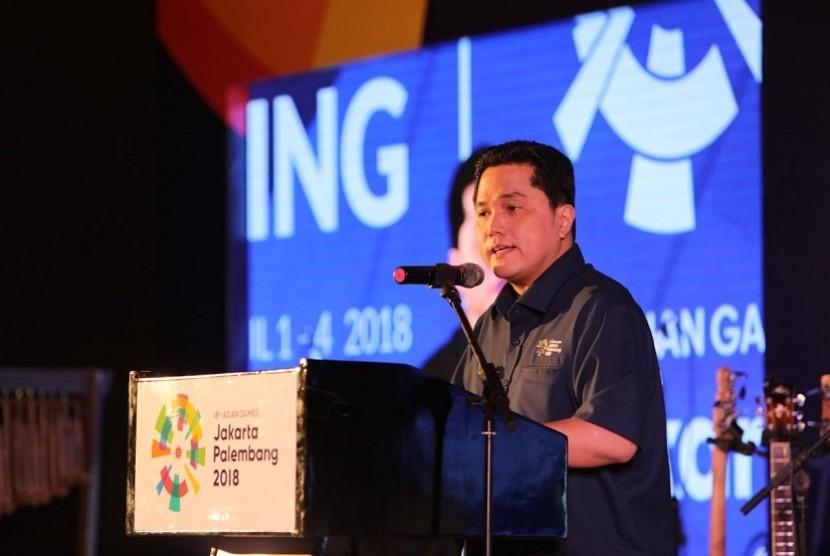 Ketua INASGOC Erick Thohir menyampaikan sambutan di gala dinner World Press Briefieng Asian Games 2018