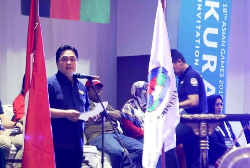Ketua Inasgoc Erick Thohir saat membuka test event Asian Games 2018 cabang kurash di Jakarta, Sabtu (5/5).