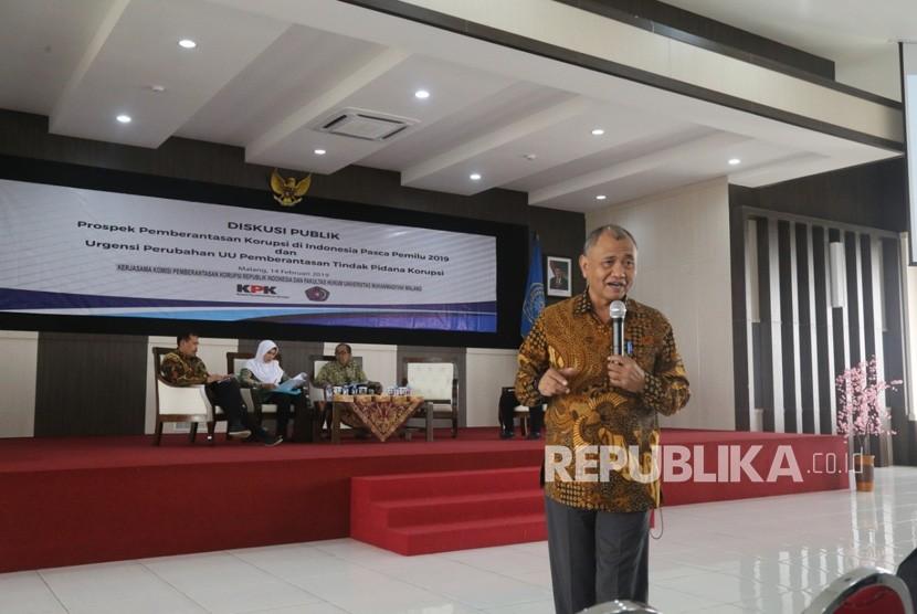 Ketua Komisi Pemberantasan Korupsi (KPK), Agus Rahardjo menjadi pembicara  dalam diskusi publik di Universitas Muhammadiyah Malang UMM (UMM).