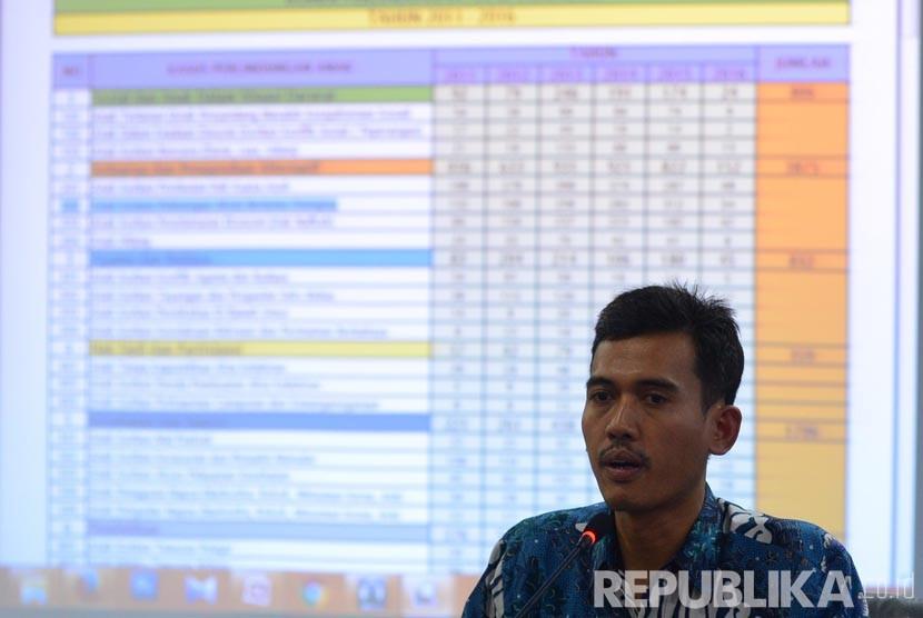 Ketua Komisi Perlindungan Anak Indonesia (KPAI) Asrorun Niam Soleh memberikan pemaparan mengenai aplikasi perlindungan anak online Pandawa Care saat peluncurunnya di Kantor KPAI , Jakarta, Senin (25/4).  (Republika/Raisan Al Farisi)