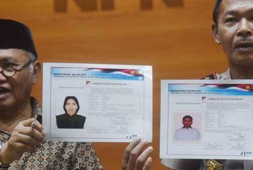 Ketua KPK Agus Rahardjo dan Kapolda Metro Jaya Irjen Idham Azis menampilkan sketsa pelaku yang diduga penyerang Novel Baswedan, Jumat (24/11).