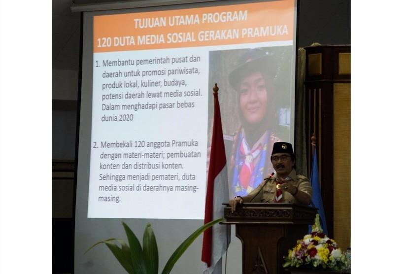 Ketua Kwarnas Gerakan Pramuka, Kak Adhyaksa Dault meluncurkan program duta media sosial
