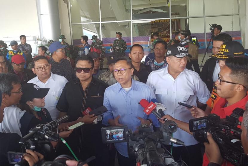 Ketua Majelis Permusyawaratan Rakyat (MPR), Zulkifli Hasan, Ketua Dewan Perwakilan Rakyat (DPR) Bambang Soesatyo, Ketua Dewan Perwakilan Daerah (DPD) Oesman Sapta, dan Wakil Ketua DPR Fadli Zon ke Palu, Rabu (3/10).