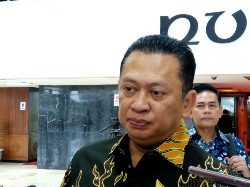 Ketua MPR Bambang Soesatyo di Gedung Nusantara III, Kompleks Parlemen, Jakarta, Rabu (11/3).