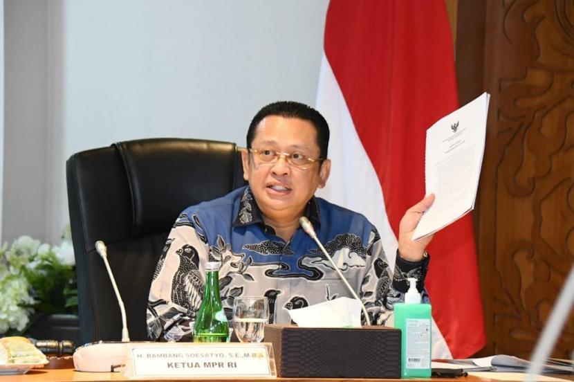 Ketua MPR Bambang Soesatyo memimpin Rapat Pimpinan MPR RI, Jakarta, Selasa (25/8).