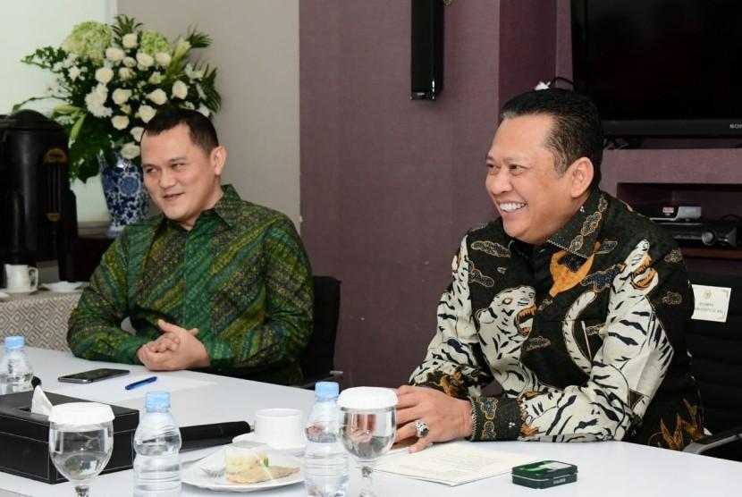 Ketua MPR Bambang Soesatyo saat media visit ke TV One.