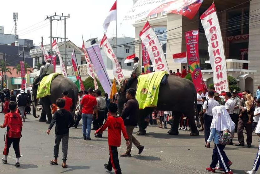 Ketua MPR RI Zulkifli Hasan bersama Ketua INASGOC Erick Thohir bersama dua gajah jinak Waykambas menyambut Kirab Api Obor Asian Games 2018 di Kota Bandar Lampung, Rabu (8/8).